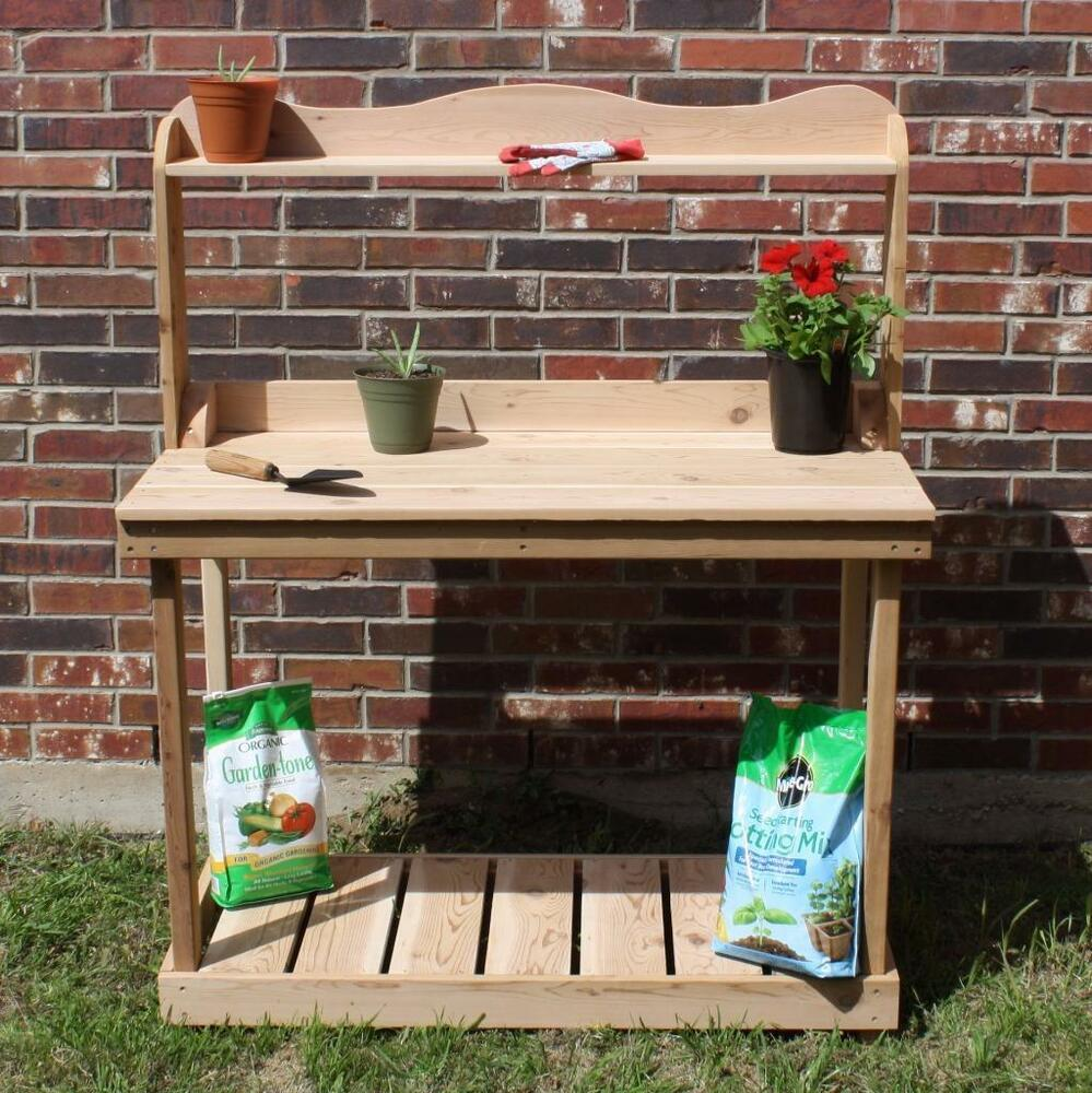 New 4 Foot Decorative Cedar Potting Bench Gardening Plant Benches Upper Shelf Ebay