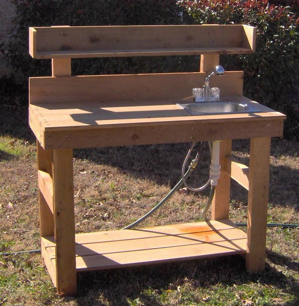 New 5 Ft Cedar Potting Bench Gardening Benches With Sink With Upper Shelf Ebay