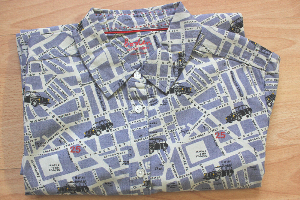 Boden blue london street map cotton shirt size 14r new ebay for London boden