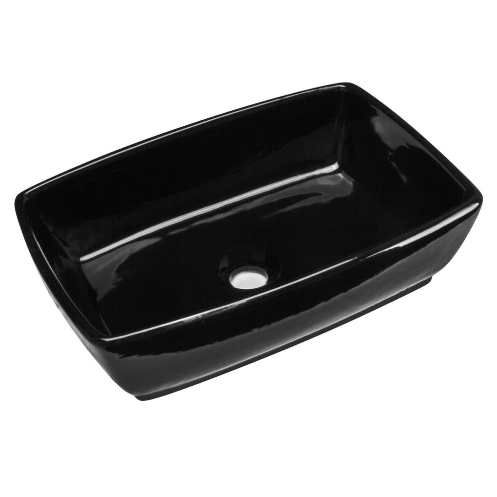 tub rectangular vessel bathroom sink 18 3 4 x 13 1 4 x 5 1 2 black porcelain ebay. Black Bedroom Furniture Sets. Home Design Ideas