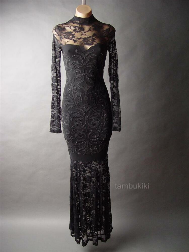 Black Lace High Neck Victorian Evening Goth Mermaid Ball
