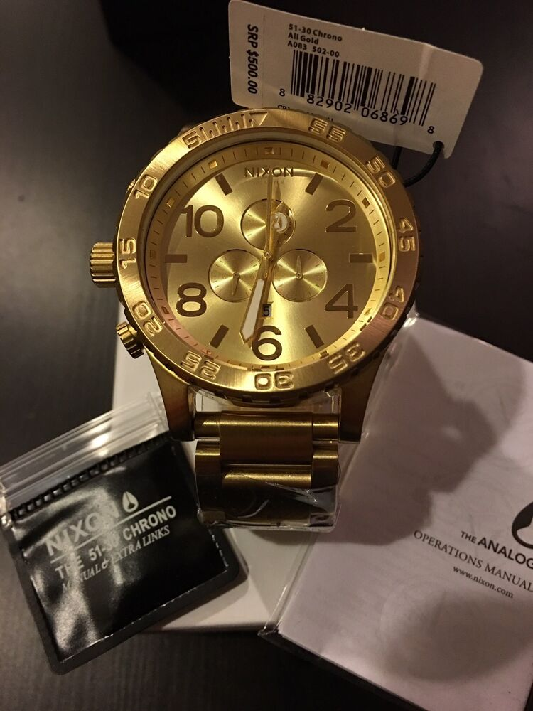 Details about New Authentic NIXON Watch Mens 51-30 CHRONO All Gold A083-502  A083502 Free Ship 7a7d1c42e6