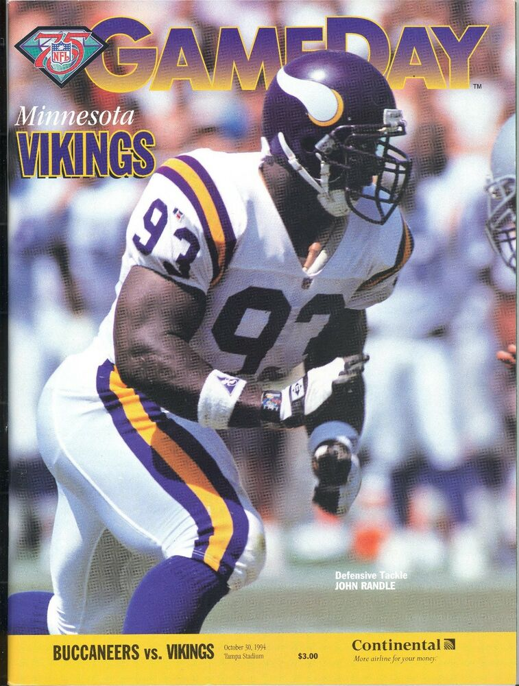 Details about Minnesota Vikings Tampa Bay Buccaneers 10 30 94 GAMEDAY  Program John Randle 37910494c