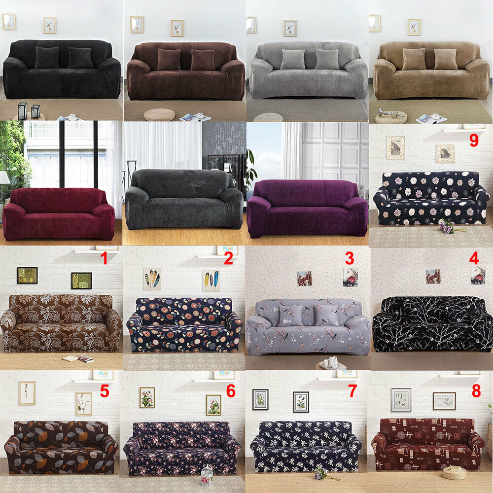 us ship stretch chair sofa covers 1 2 3 4 seater protector couch cover slipcover ebay. Black Bedroom Furniture Sets. Home Design Ideas