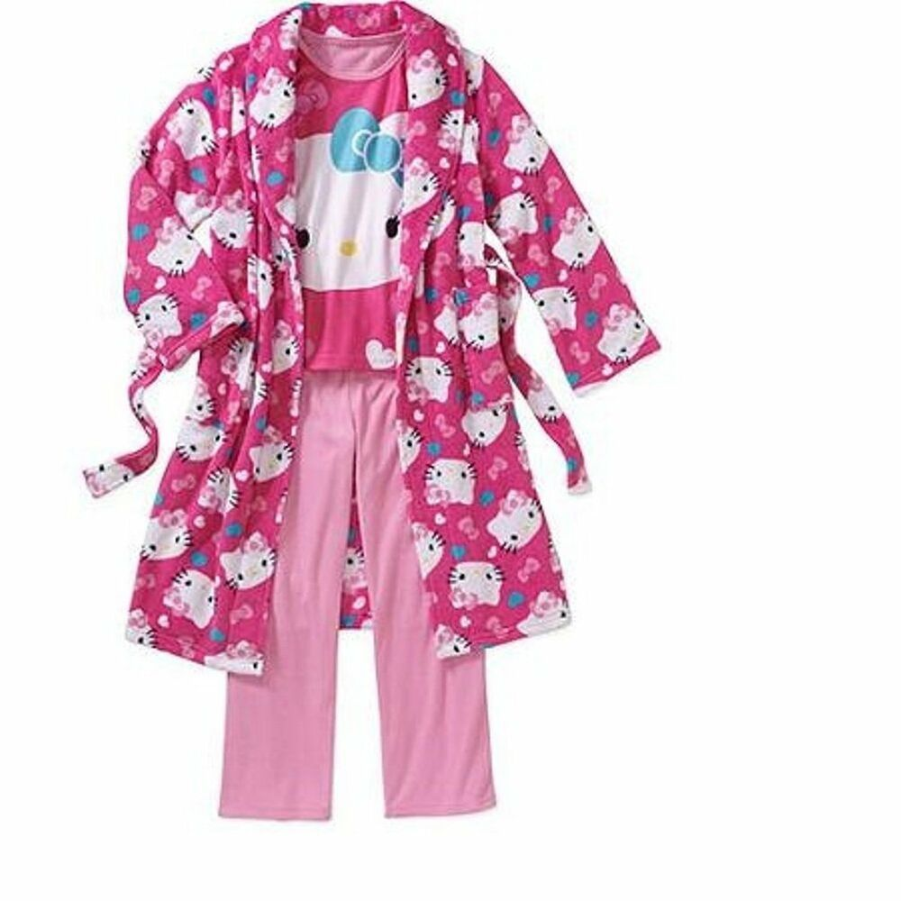 2a57cacbd Details about Hello Kitty 3 PC Plush Bathrobe Bath Robe Pajama Set Girl  Size 6/6X
