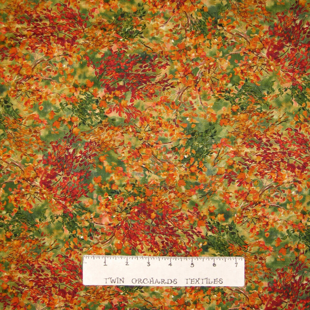 Fall Harvest Fabric Watercolor Leaf Rust Green
