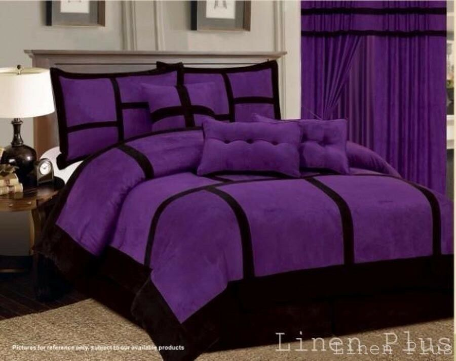 micro suede purple black patchwork comforter set all sizes 7 piece king queen ebay. Black Bedroom Furniture Sets. Home Design Ideas