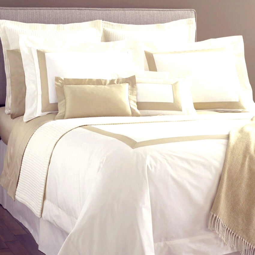 Details About Sferra Orlo Twin Flat Sheet Ivory Camel Egyptian Cotton Percale Sa Band New