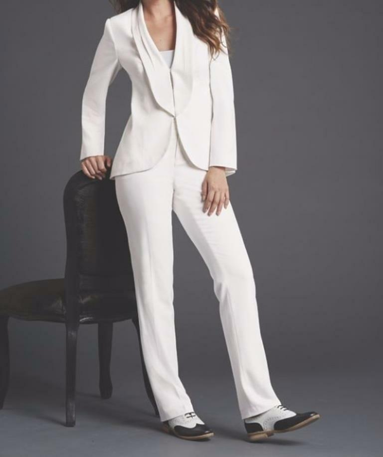 1e8ae8e4870a Women s Wedding Business meeting Evening party Church White 2PC Pantsuit  plus20W   eBay