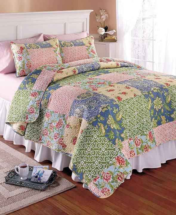 3 pc printed quilt sets patchwork pattern polyester for Decorative bed quilts