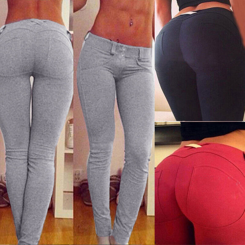 neu damen hip push up elastisch sport leggings fitness hose jeggings. Black Bedroom Furniture Sets. Home Design Ideas