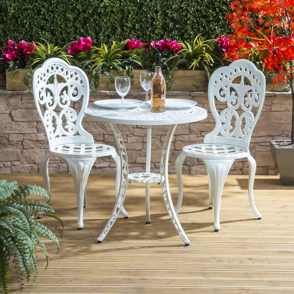 Traditional cast aluminium cafe bistro outdoor garden furniture table chairs set ebay - Garden furniture table and chairs ...