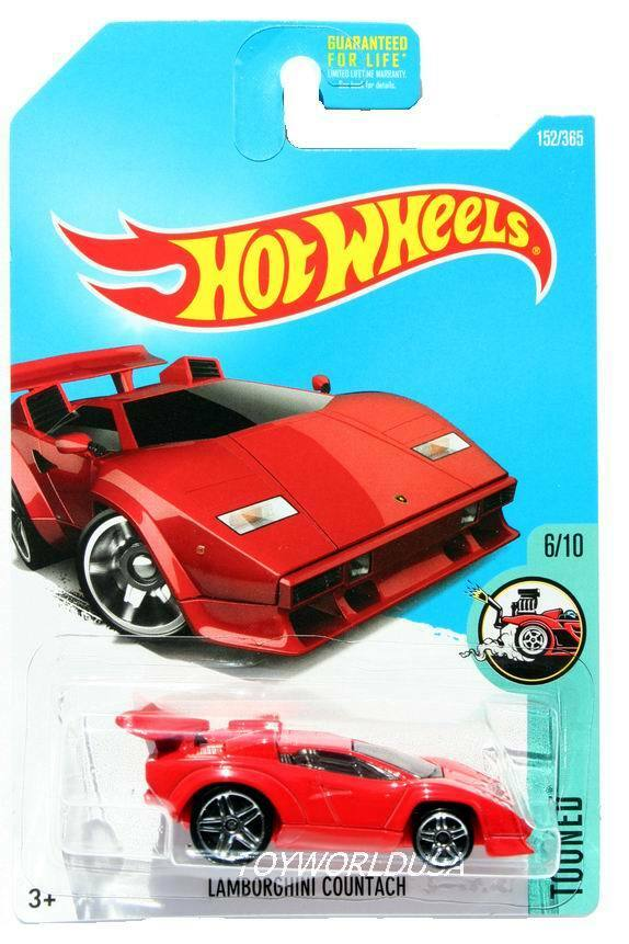 2017 hot wheels 152 tooned lamborghini countach red ebay. Black Bedroom Furniture Sets. Home Design Ideas