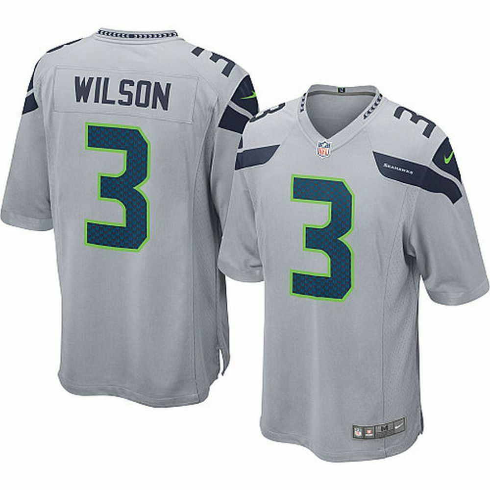 7abcb0fa6 Details about Nike Youth Seattle Seahawks Russell Wilson #3 Alternate Jersey  Grey Small 8