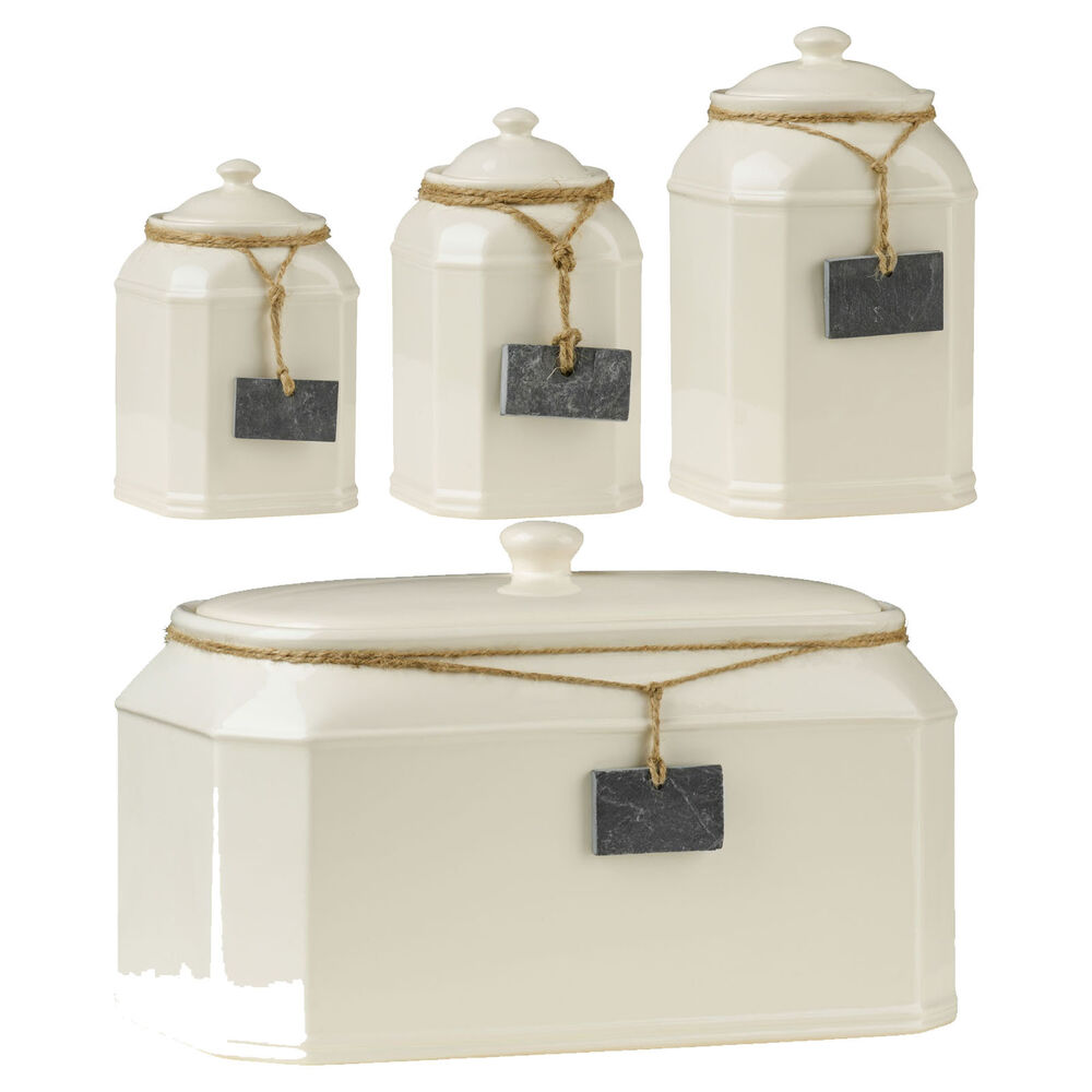 Typhoon Tea Coffee Sugar >> Cream Dolomite Storage Jars Bread Bin Crock Kitchen Tea Coffee Sugar Containers | eBay