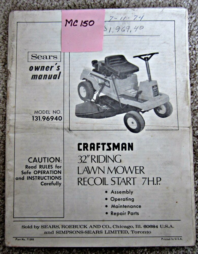 Sears Craftsman Owners Manual For 32 Quot Riding Lawn Mower