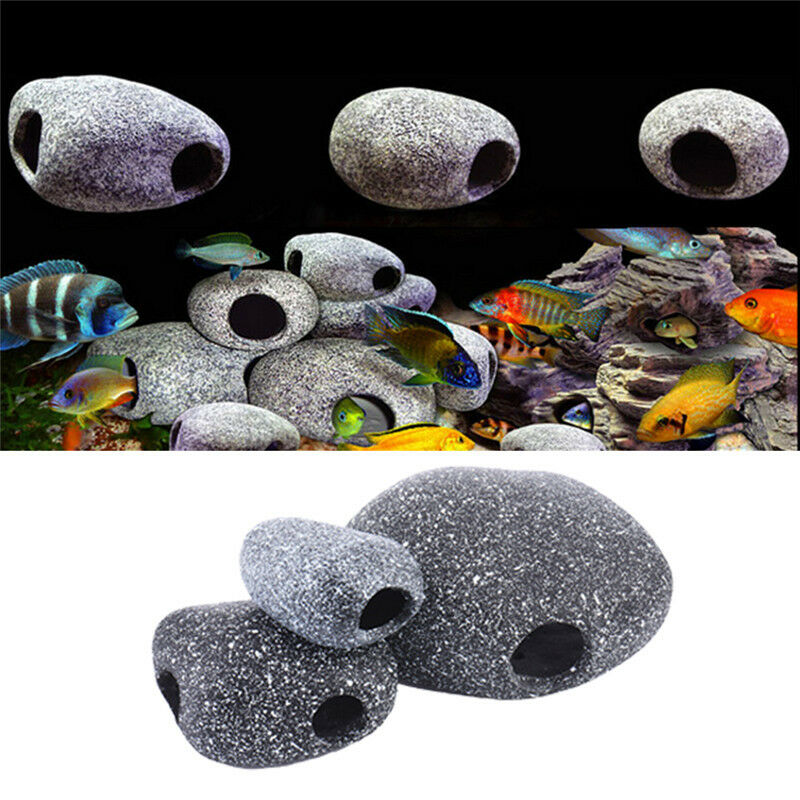 Aquarium ornament fish tank cichlid stones ceramic rock for Aquarium cave decoration
