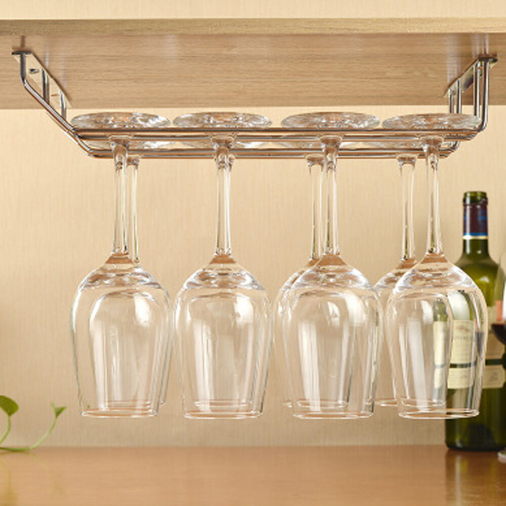 2 Rows Stainless Steel Wine Glass Hanging Rack Holder Fix