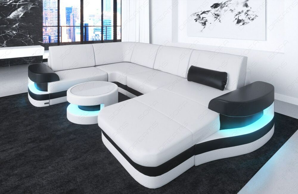 wohnlandschaft luxus ledersofa modena u form designsofa ottomane led beleuchtung ebay. Black Bedroom Furniture Sets. Home Design Ideas