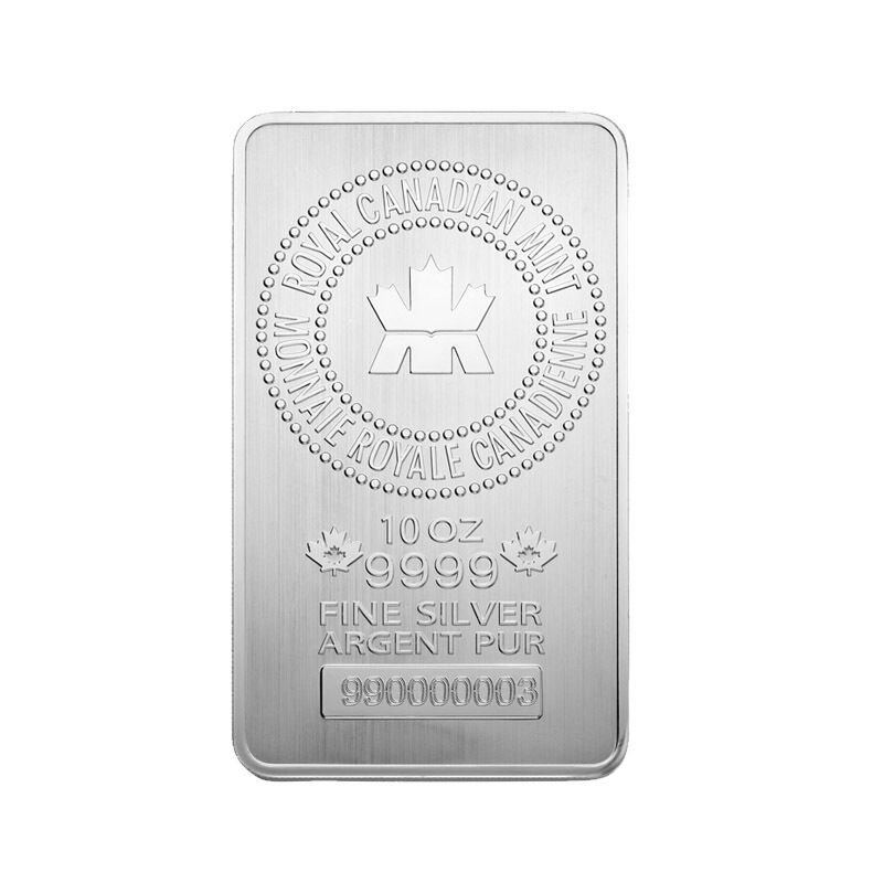 10 Oz Royal Canadian Mint Rcm 9999 Fine Silver Bar Ebay