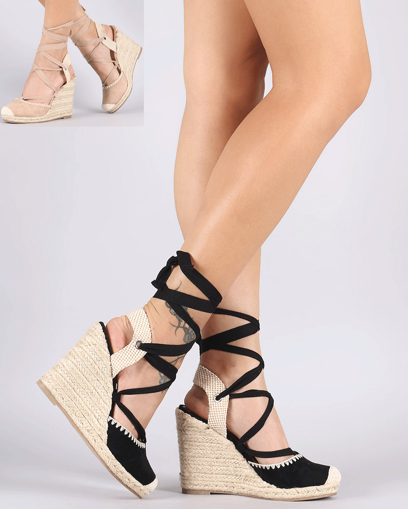Womens Faux Suede Lace Up Round Toe Espadrille Wedge High