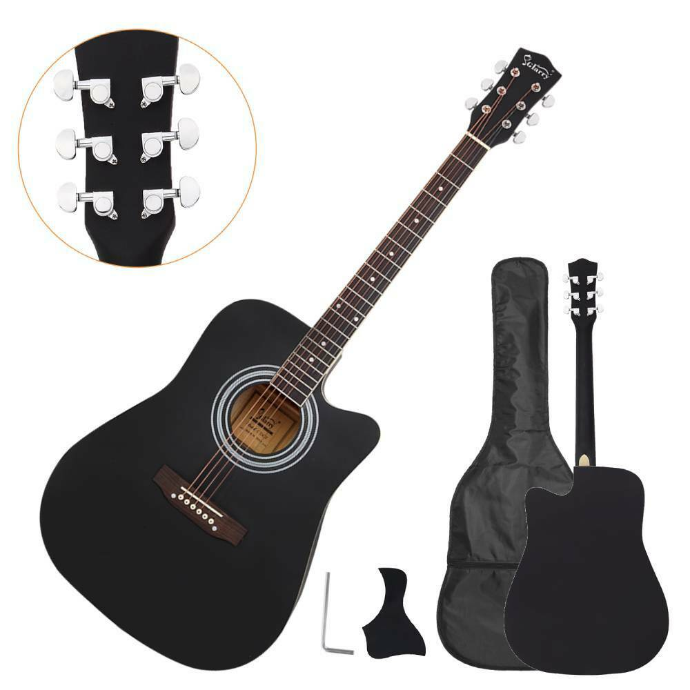 new 41 full size adult 6 strings cutaway folk acoustic guitar black ebay. Black Bedroom Furniture Sets. Home Design Ideas