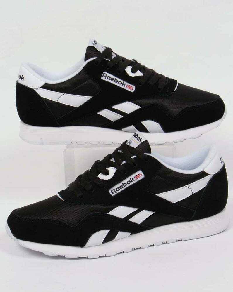 reebok classic nylon trainers in black white retro. Black Bedroom Furniture Sets. Home Design Ideas