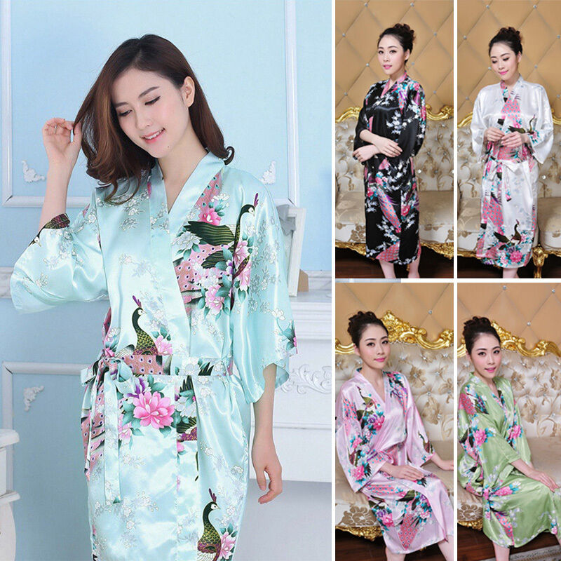 damen kimonos satin look morgenmantel nachtw sche hausmantel bademantel gr m 3xl ebay. Black Bedroom Furniture Sets. Home Design Ideas