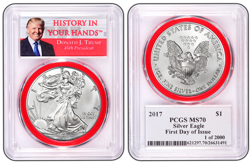 2017 1oz Silver Eagle Pcgs Ms70 First Day Issue Red