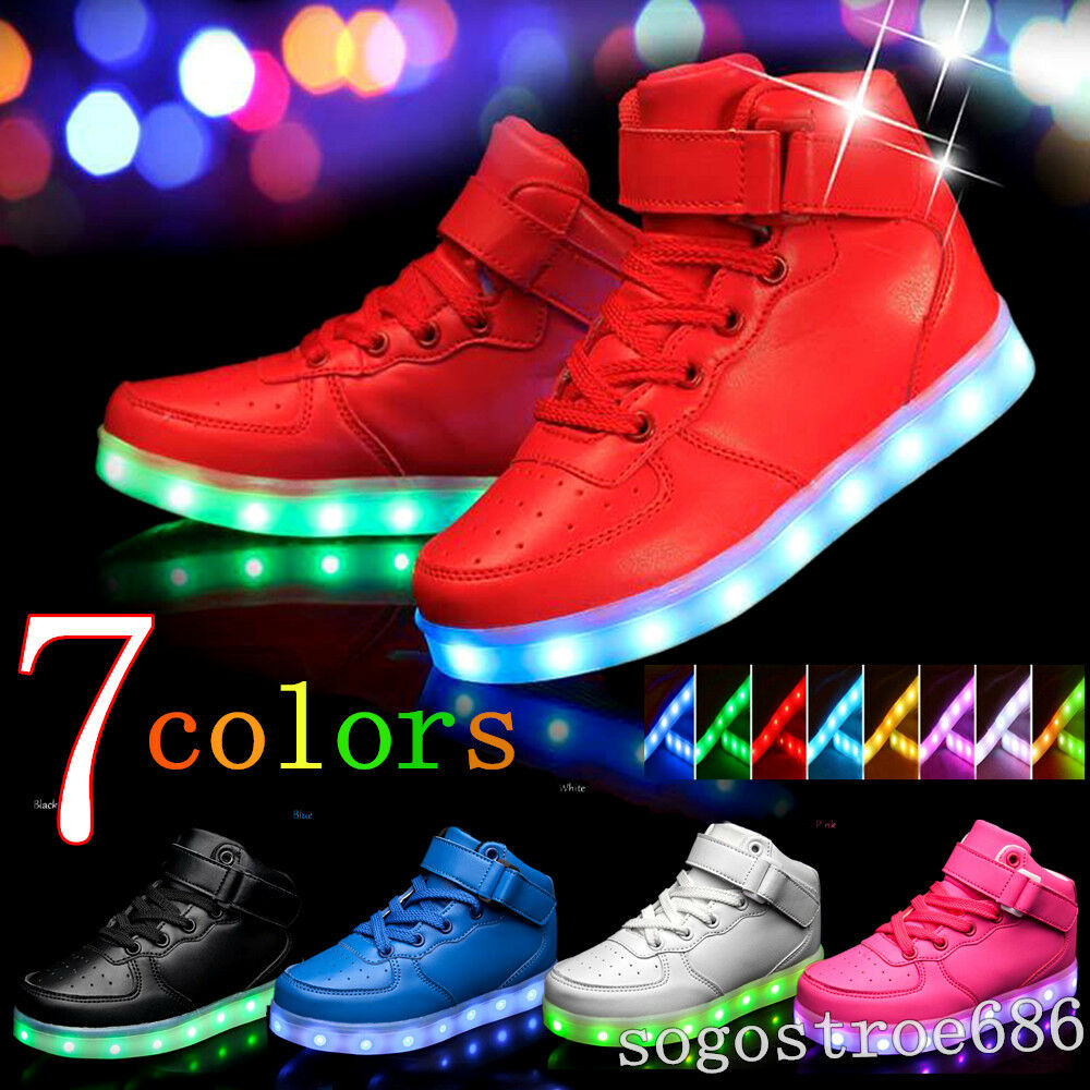 45e478e6f768 Details about New Boys Girls Kids High Top LED Light Up Luminous shoes  Trainers Sport Sneakers
