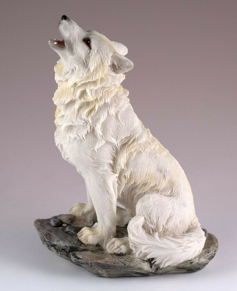 """Wolf Howling Figurine Resin 5.5"""" High - Highly Detailed ..."""