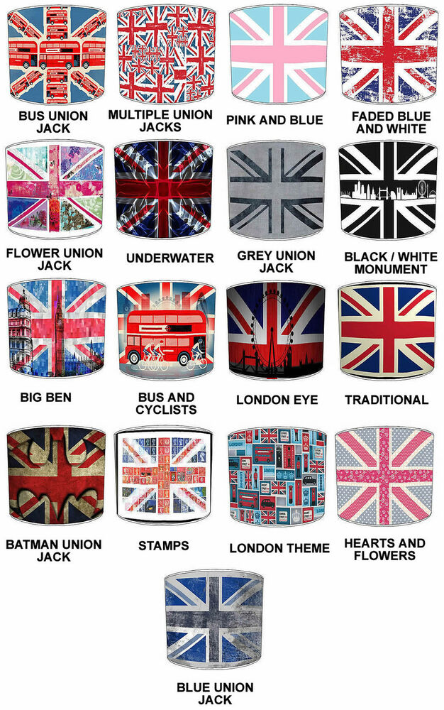 union jack lampenschirme ideal passend zu bettdecke kissen ebay. Black Bedroom Furniture Sets. Home Design Ideas