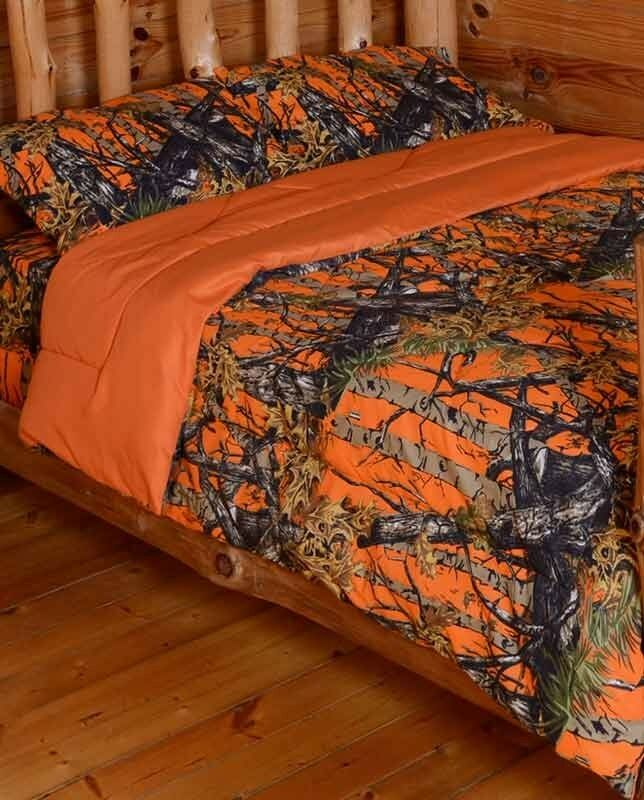 The woods queen orange 7 piece bedding set comforter and sheets camo camoflague ebay - Blue and orange bedding sets ...