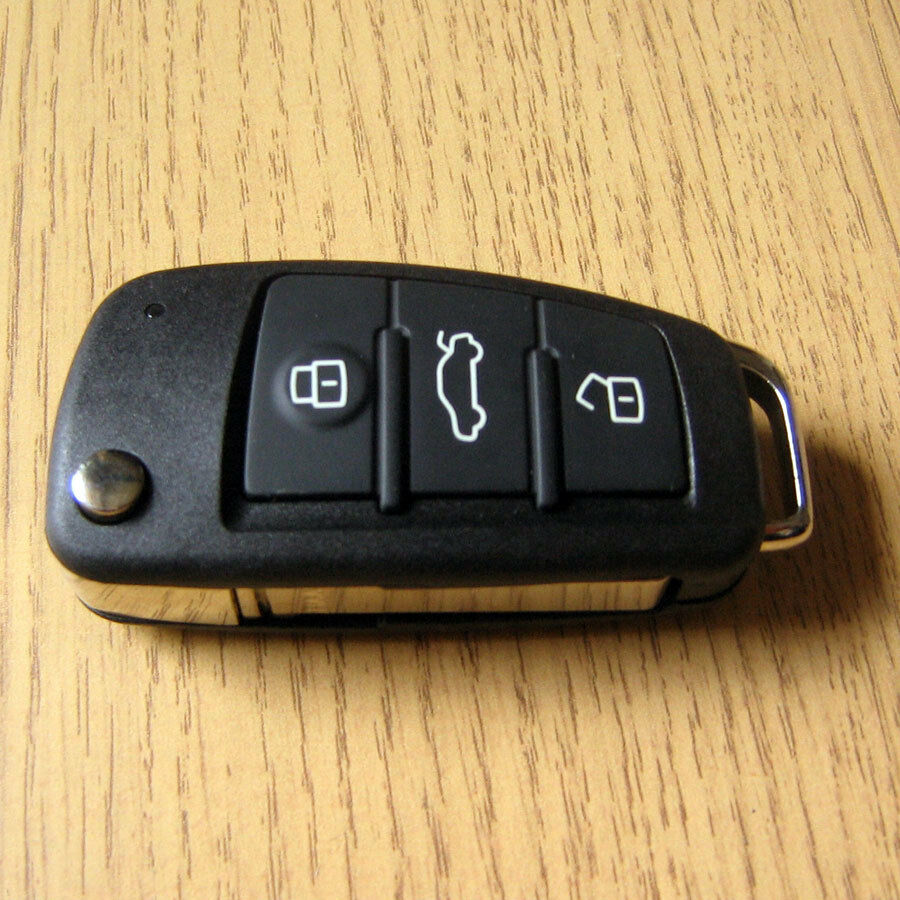 replacement 3 button remote fob flip key case audi a2 a3. Black Bedroom Furniture Sets. Home Design Ideas