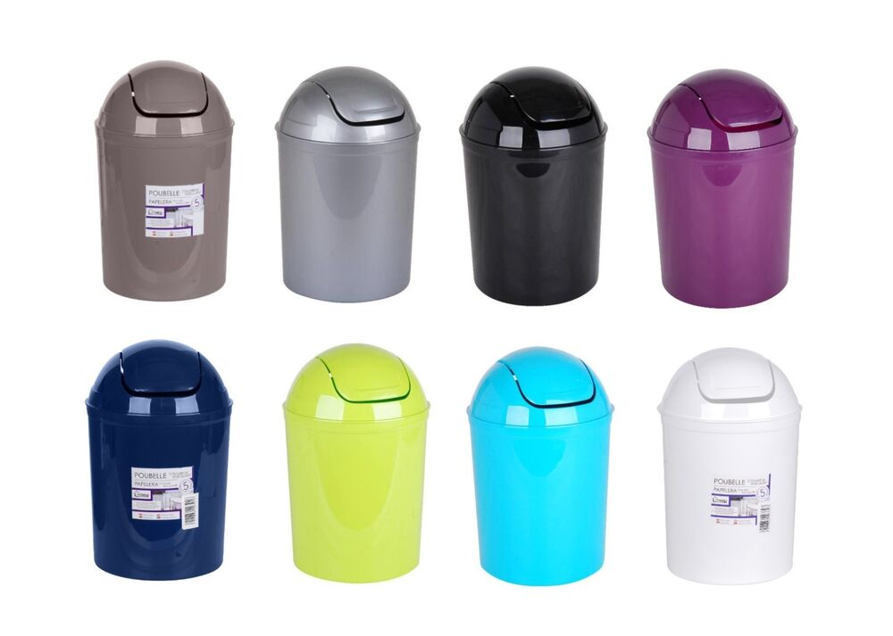 5l Mini Desktop Swing Top Bin For Office Home Bathroom