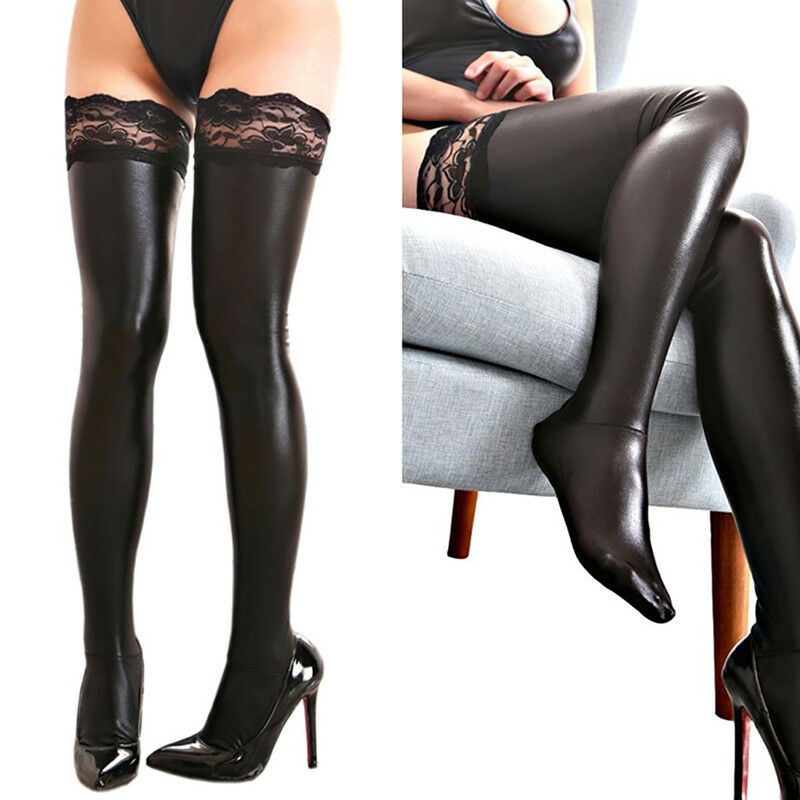 2ab37d1f076 Details about Stylish Women Spandex Shiny Thigh High Tights Socks Black PU  Leather Stockings