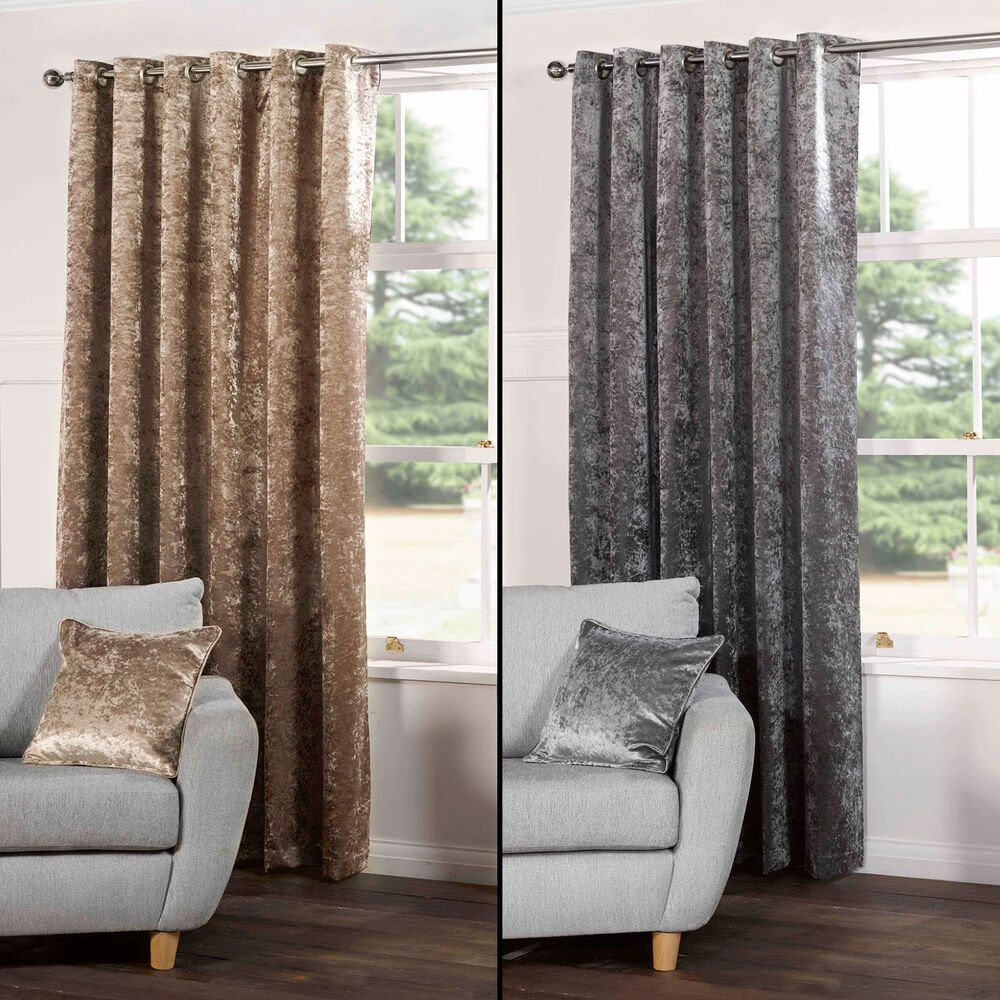 PAIR OF CRUSHED VELVET FULLY LINED EYELET CURTAINS SILVER