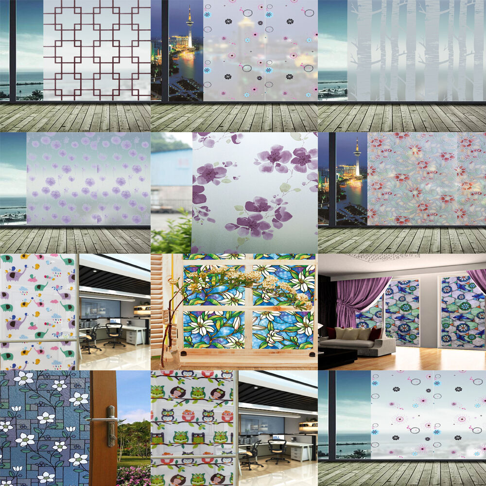 Static cling cover stained flower window film glass for Window cover for home