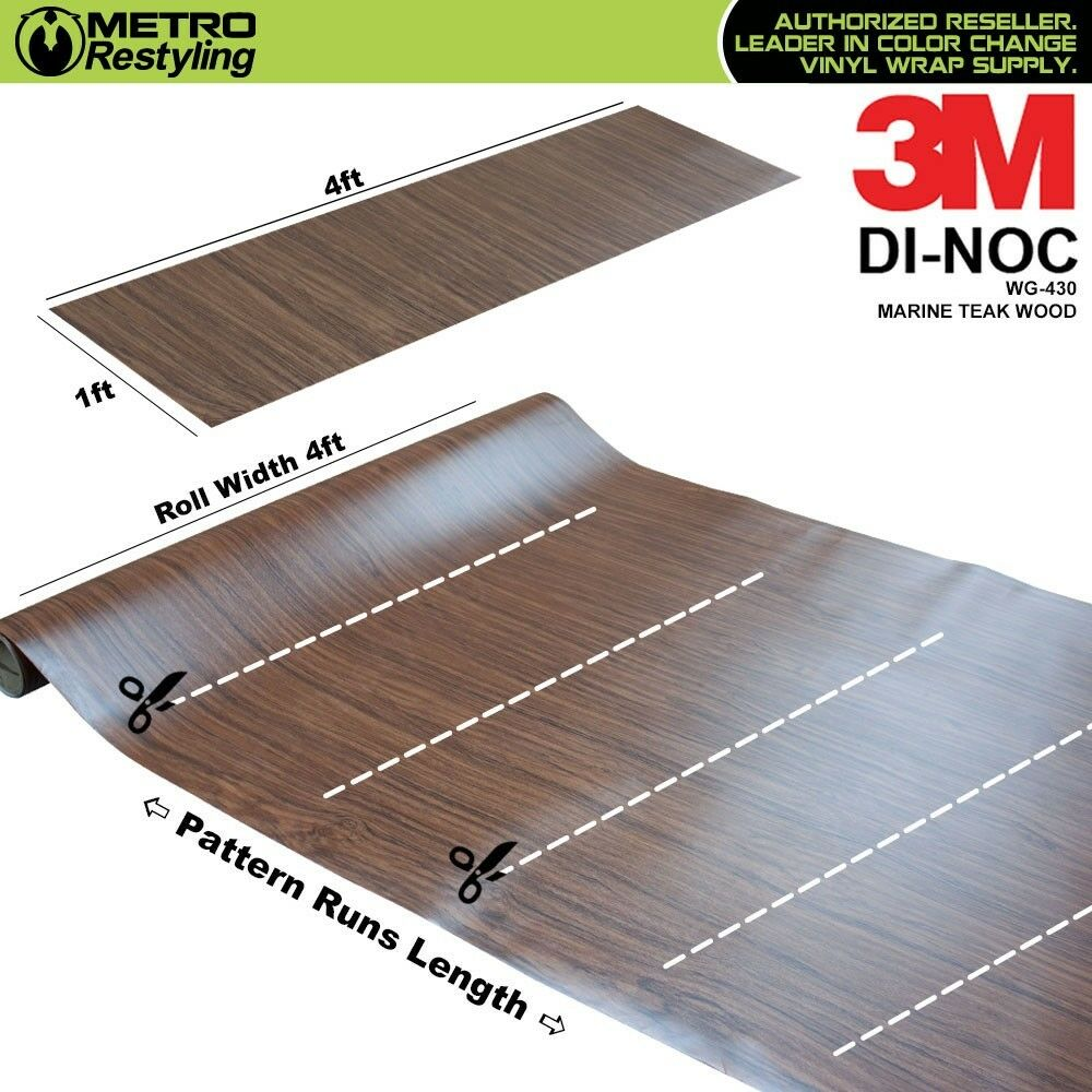 3m di noc marine teak wood grain vinyl sheet wrap film sticker roll adhesive ebay