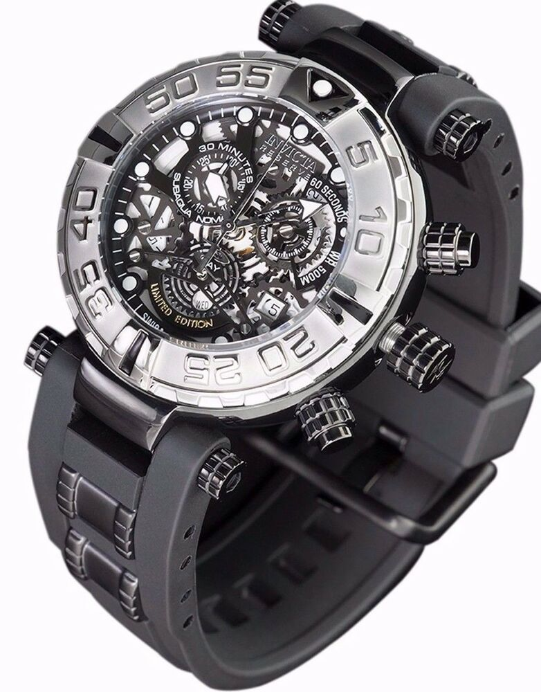 New mens invicta subaqua swiss made chronograph skeleton black dial watch ebay for Watches on ebay