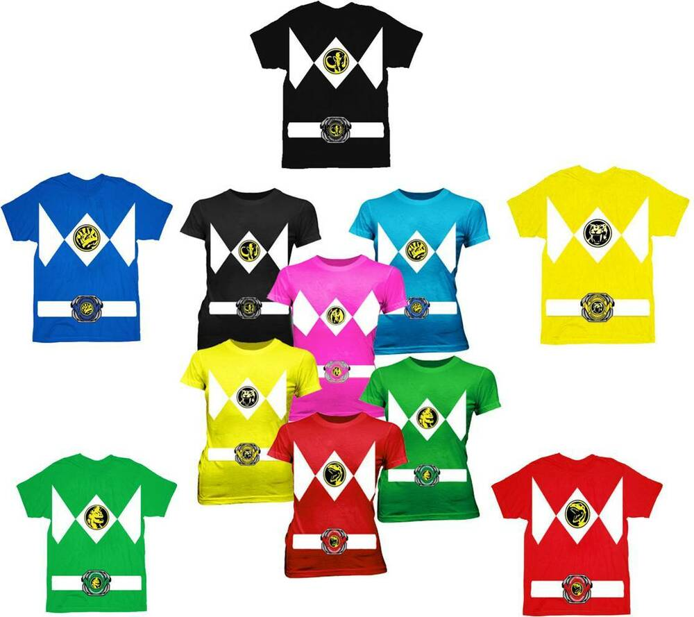 2cb24e30b13 Adult Mens   Juniors TV Show The Power Rangers Ranger Costume T-Shirt Tee