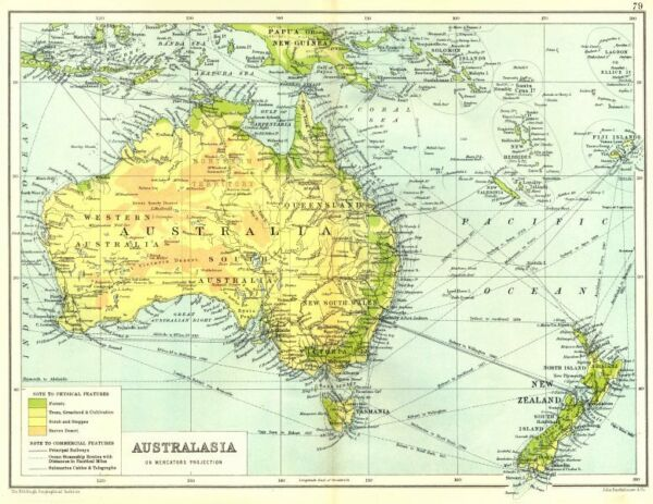 AUSTRALASIA. Physical. Railways steamship routes telegraph cables 1909 old map