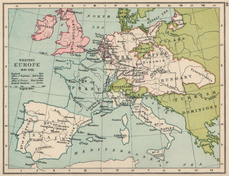 Map Of Western France.Western Europe May 1702 England Allies Red France Blue 1907