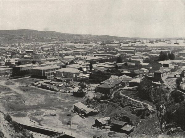 VALPARAISO. General view of the city. Chile 1895 old antique print picture