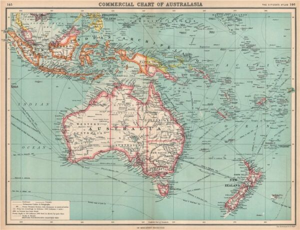 AUSTRALASIA COMMERCIAL. Steamer routes Telegraph cables Railways 1912 old map