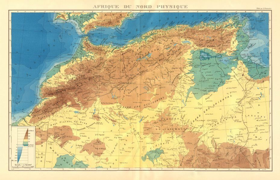 French Africa Map.Colonial French North Africa Afrique Du Nord Physique Physical