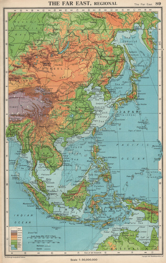 The Far East Physical East Asia East Indies Bartholomew 1952 Old