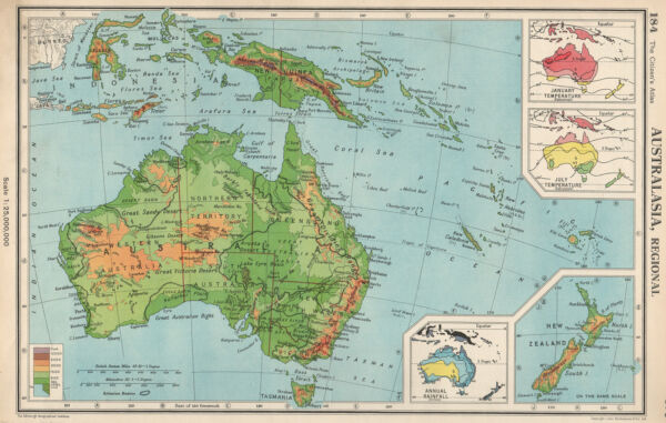 AUSTRALASIA. January & July temperature; Annual rainfall. BARTHOLOMEW 1952 map