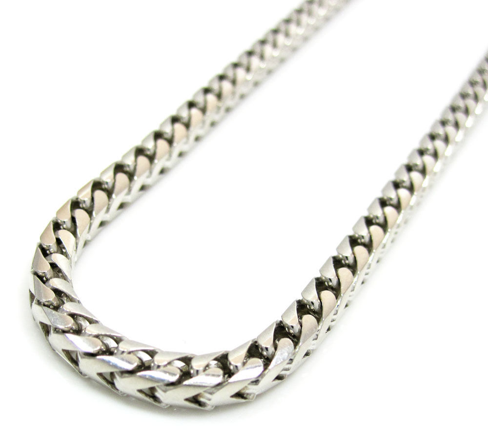 14K White Gold Franco Italy Box Mens Ladies Chain Necklace ...