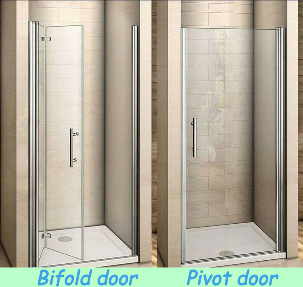 Aica Frameless Pivot Bi Fold Shower Door Enclosure Glass